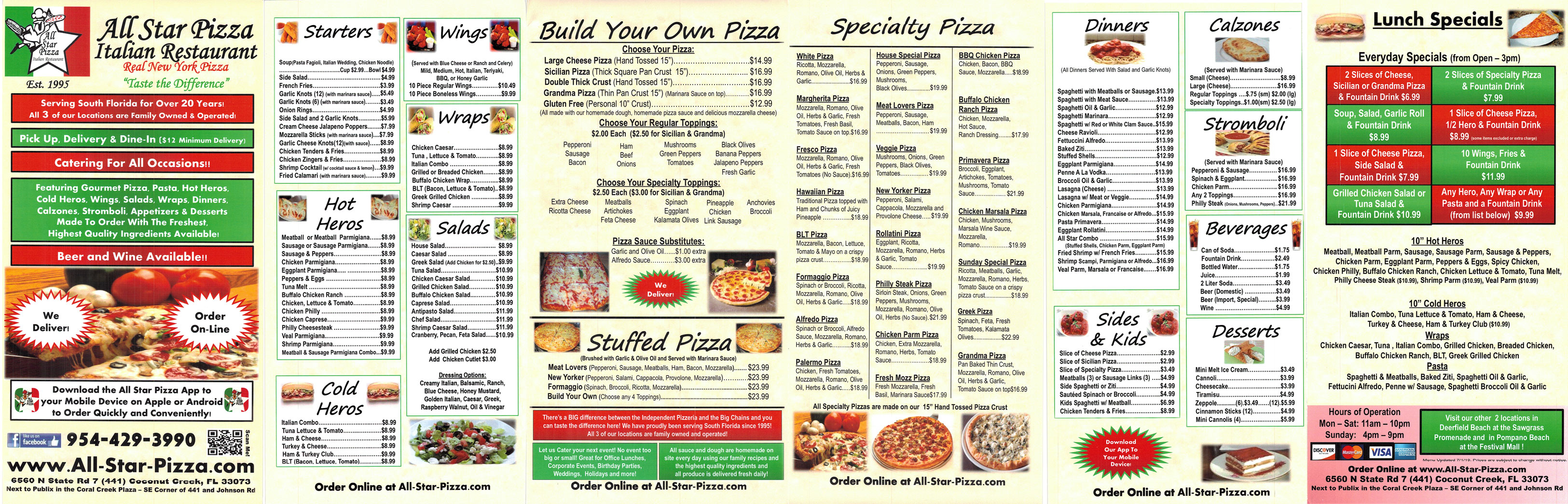 all star pizza coconut creek menu