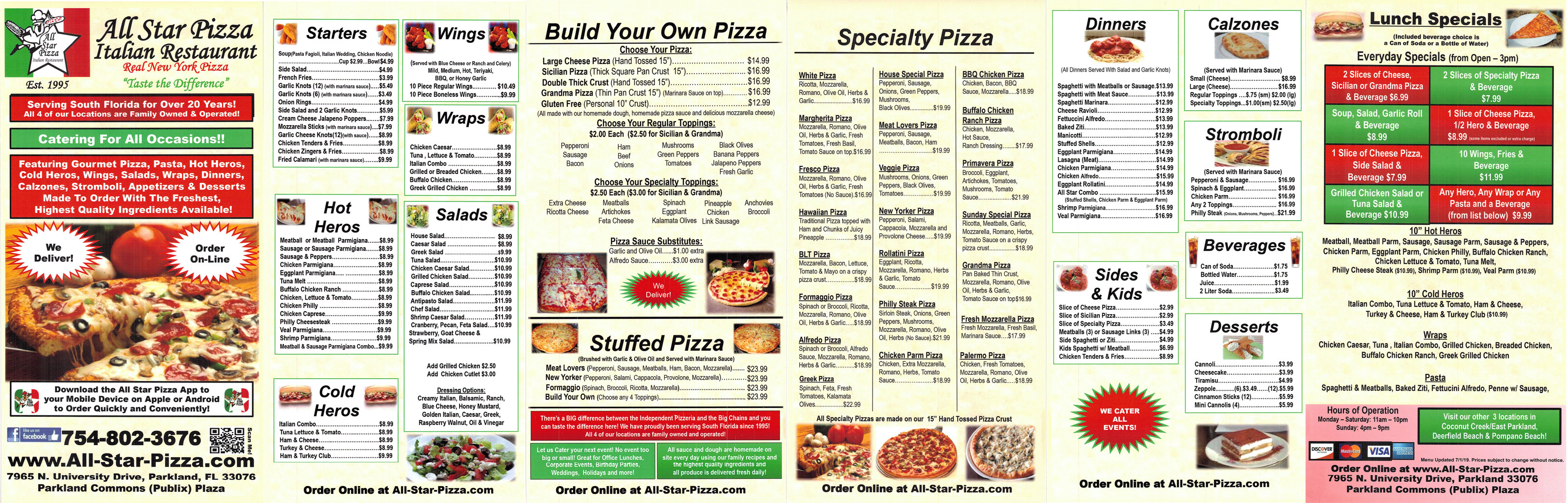 all star pizza parkland menu