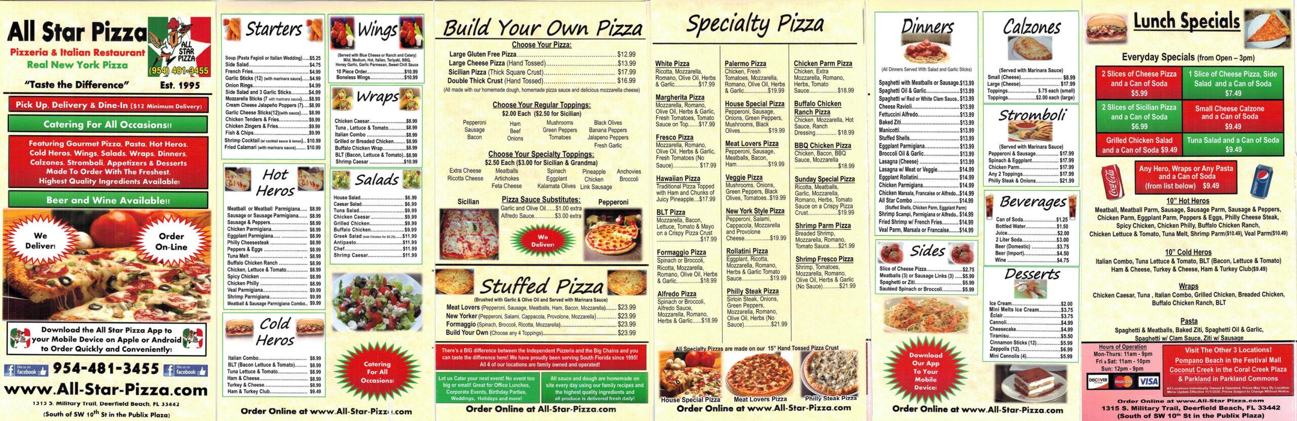 all star pizza menu deerfield